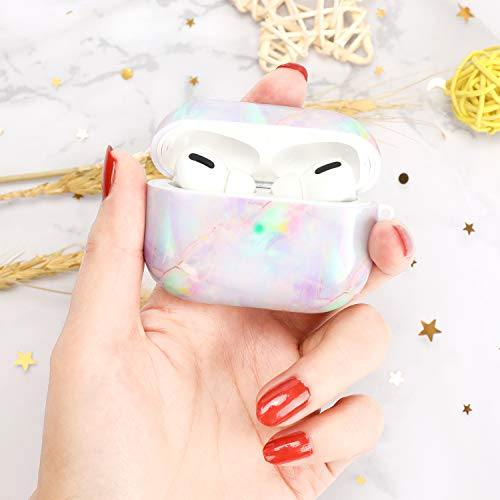 Airpods Pro Case - QINGQING Cute Marble Apple Airpods Accessories Protective Hard Case Cover Portable & Shockproof Women Girls Men with Keychain for Airpods Pro Charging Case (Colorful+Blue Marble)