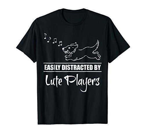 Running Dog Easily Distracted by Lute Players Music Notes T-Shirt