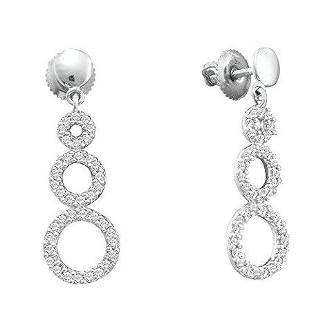 Diamond Earrings 14kt White Gold Triple Circle Dangle Screwback 3/8 Cttw (i2/i3, i/j) - Diamond Triple Circle Earrings
