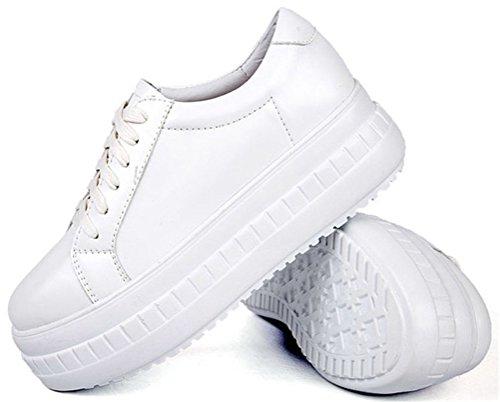 Aas Schok Platform Schoenen Vrouwen Mid-hak, Casual Lace-up Sneakers 2 Kleuren Maat 5,5-8 Wit