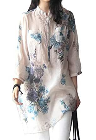 GRMO Women's Floral Print Baggy 3/4 Sleeve Plus Size Cotton Linen Top T-Shirt Blouse Blue XS
