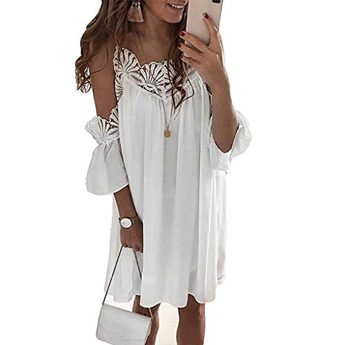 2019 New! Women's Summer Floral Lace Casual Dress Swing Cold Shoulder Loose Short Tunic Top T-Shirt Dress(White,L)
