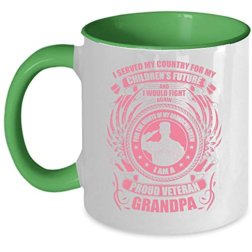 Cool Veteran Coffee Mug, I'm A Proud Veteran Grandpa Accent Mug (Accent Mug - Green)