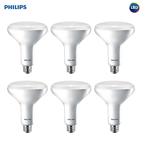 Philips LED Dimmable BR40 Soft White Light Bulb with Warm Glow Effect 800-Lumen, 2700-2200-Kelvin, 10-Watt (65-Watt Equivalent), E26 Base, Frosted, 6-Pack ()