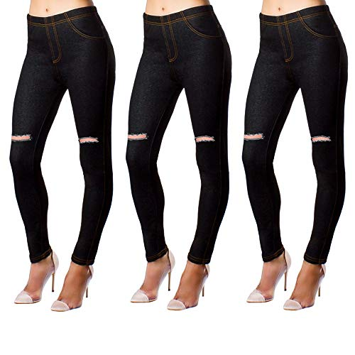 Minni Rossa Pack of 3 Womens Girls Skinny Jeans Stretchy Ripped Jeggings Ladies Denim Look Leggings UK Sizes 6-26 (3X Black, UK 24-26)