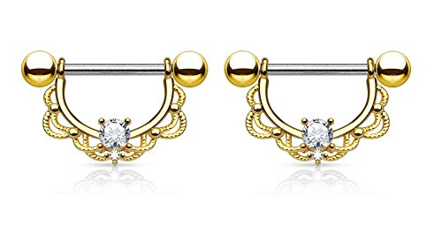 CZ Centered Filigree Drop Nipple Rings in 316L Stainless Steel with 14kt Gold Plating - Sold as a Pair - Available in Multiple Colors! (Gold Plated) (Ring 14kt Filigree)