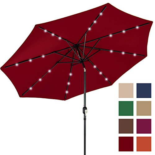 Best Choice Products 10FT Deluxe Solar LED Lighted Patio Umbrella With Tilt Adjustment (Red) (Red Patio Umbrellas)