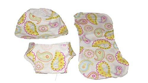 Paisley Burp Cloth Set - Baby Doll Diaper, Bib and Burp Cloth Set Paisley