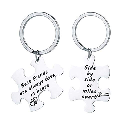 Romanticworks Side by Side Or Miles Apart Best Friends Necklace Keychain Set,Friendship Gifts Stainless Steel Jewelry