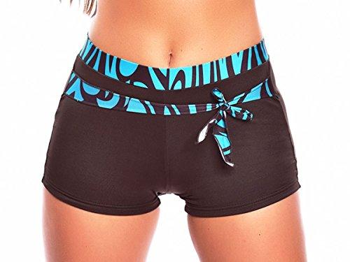 Hotpants/Bikinihose/Badeshorts in verschiedenen Farben! (Oct-flav-H9-f3427) Farbe: Türkis/Braun, Gr. 40