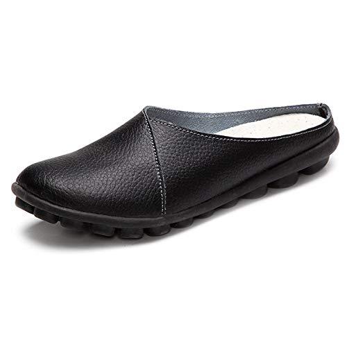 coloré Nu 38 ZHRUI Noir Format Grand Cuir Mocassins EU Taille Blanc Confortable en Dos Chaussures qzwHz4gp