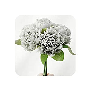 1 Bouquet Artificial Flowers European Silk Peony Flower Wedding Favors for Home Garden Wedding Mother's Day Decoration,Gray 19