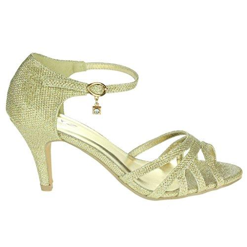 Mujer Señoras Brillar Dos partes Peep Toe Correa de tobillo Tacón medio Noche Fiesta Boda Paseo Sandalias Zapatos Talla Oro