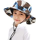 JINTN Children Kids Outdoor Camouflage Fishing Cap Big Brim Sun Bucket Hat UPF 50+ Sun Protection Sun Hats