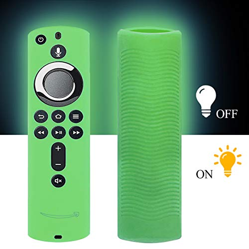 WERONE Silicone Cover/Case for Fire TV 4K/Fire TV (3rd Gen)/Compatible with All-New 2nd Gen Alexa Voice Remote Control (Night-Glow Green)