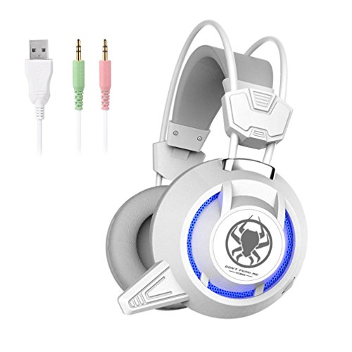 Headphone LESHP Stereo Game Headphone Computer Over Ear Headphones With Microphone Noise Isolating Volume Control Gaming Headset