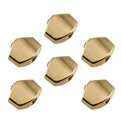 D DOLITY 6pcs Universal Guitar Tuning Peg Buttons Tuner Caps Small Square Golden for Electric Acoustic Guitars