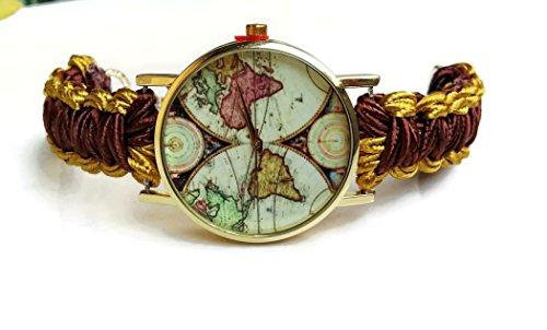 Boho copper gold world map wrist watch bracelet women Globe jewelry Fashion birthday gift for ()