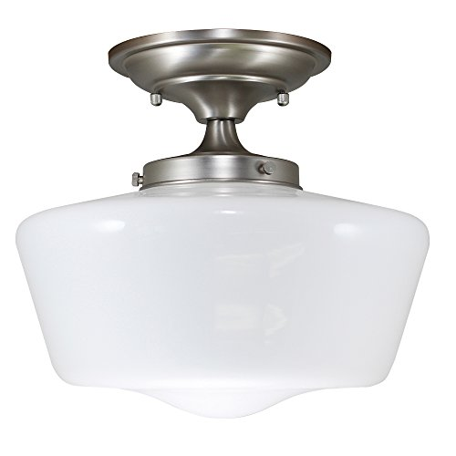 (URBAN 33 F21616-53R Semi-Flush Opal Glass Schoolhouse Fixture, Satin Nickel)