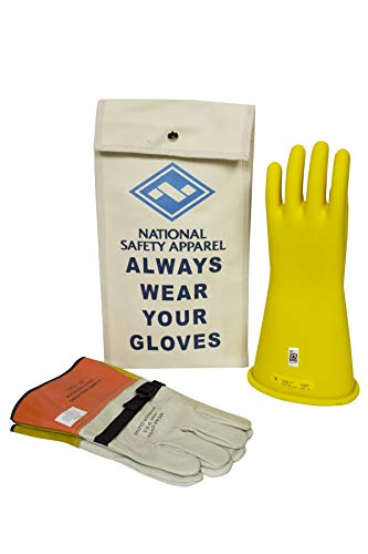 National Safety Apparel Class 2 Yellow Rubber Voltage Insulating Glove Kit with Leather Protectors, Max. Use Voltage 17,000V AC/ 25,500V DC (KITGC209Y) (Color: Yellow, Tamaño: 9)