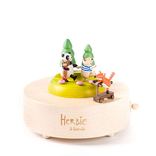 Wooderful Life Wooden Music Box -Large, Herbie & Friends, Musical Box, Panda, Bear, Fox, Collectible, Premium Sustainable Wood, Handmade, Gift Girl, Birthday Gift