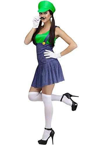 Fun World Costumes Women's Pretty Plumber Adult Costume, Green/Blue, -