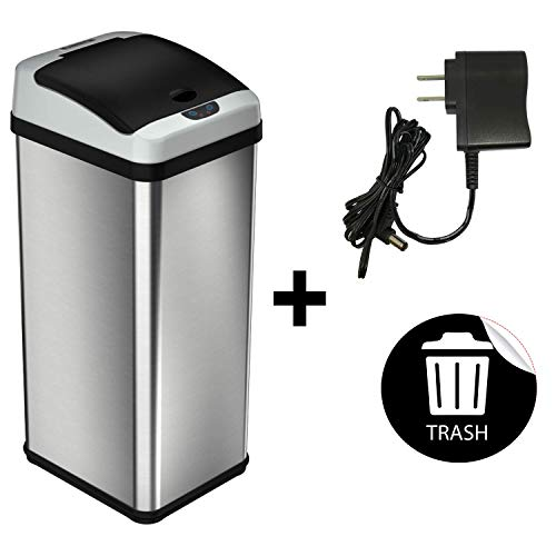 iTouchless 13 Gallon Automatic Touchless Sensor Kitchen Trash Can with AC Adapter and Odor Filter Deodorizer, Stainless Steel, Waterproof Reusable