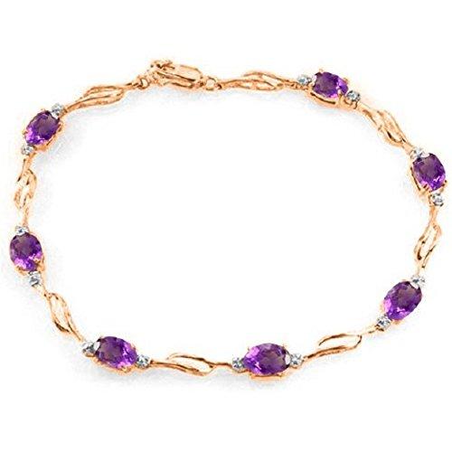 Amethyst Rose Gold Bracelet - Galaxy Gold 14k Rose Gold Tennis Bracelet with Amethysts and Diamonds