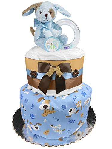 Puppy Diaper Cake - Boy Baby Shower Gift - Blue and Chocolate