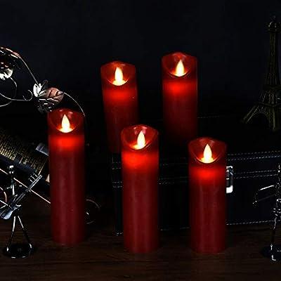 T/él/écommande Avec 10 Menus De Fonction 10,12,15,17,19 cm,Ivoire Minuterie de 24 Heures Avec Vacillement des Flammes Tr/ès R/éaliste ,En V/éritable Cire Bougies LED,Bougies Sans Flamme.Lot de 5