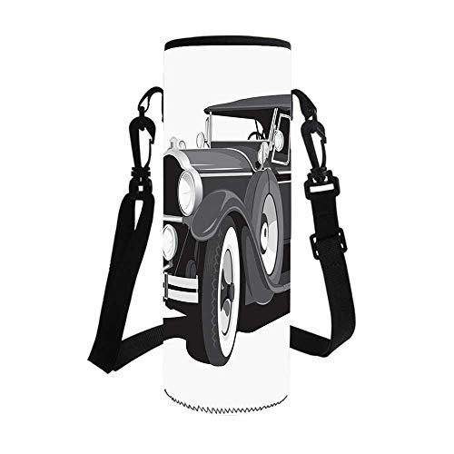 TecBillion Cars Stylish Bottle Sleeve,Old Timer American Black Car Classical Urban Travel Nostalgic Revival Engine for Bottle & Vacuum Cup,3.7''L x 3.7''W x -