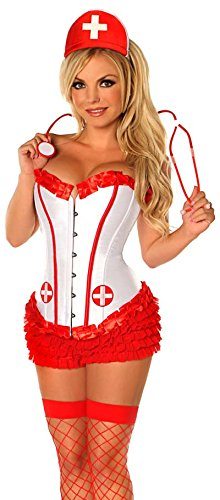 Daisy Corsets Women's 4 Piece Miss Naughty Nurse Costume, Red, 3X