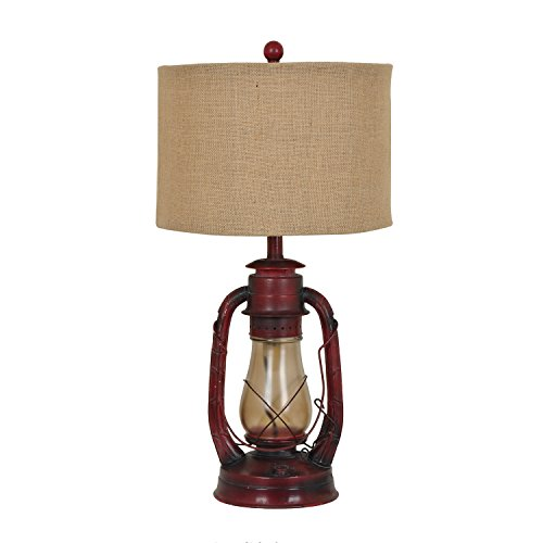 Lamp Table Collection - Crestview Rustic Red Lantern Table Lamp with Nightlight