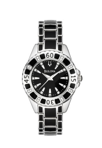 Bulova Women's 98R129 Diamond Accented Case Bracelet Black Dial Watch