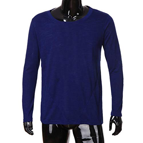 Bhydry Inverno Autunno Collo Uomini Cotone Lunga Camicetta Sottile Di Blu Cime Casuale Manica Della Rappezzatura Solida Camicie Marino O Modo Di 1wqp1xIr