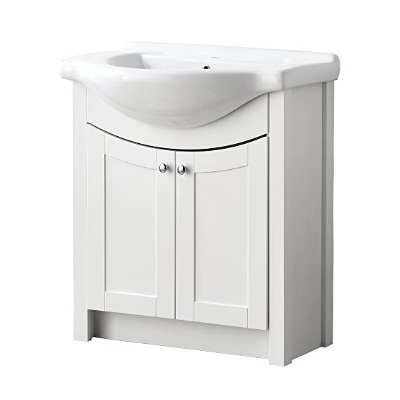 """RESSORTIR  Luxury Modern Bathroom Vanity With Ceramics Sink, 26"""", White - Size: 26 in. W x 19 in. D x 37 Faucet and pop up drain not include Constructed in laminate composite wood - bathroom-vanities, bathroom-fixtures-hardware, bathroom - 41i VMiSN2L. SS570  -"""