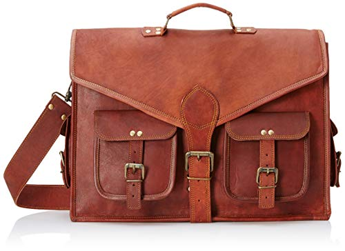 18 Inch Rustic Vintage Leather Messenger Bag Leather Laptop Bag Men's Leather Briefcase Satchel Bag