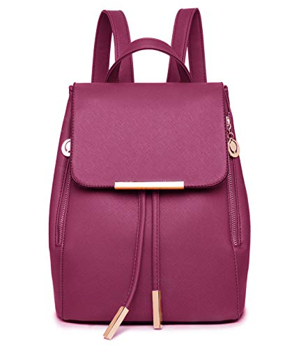 WINK KANGAROO Fashion Shoulder Bag Rucksack PU Leather Women Girls Ladies Backpack Travel bag (Wine red) (Leather Purses And Handbags)