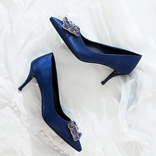 MSM4 421 Décoratifs Hauts Talons Blue Stilettos Uppers Femmes Escarpins Strass Satin rg1qrwH