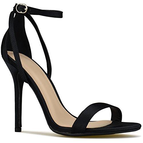 Premier Standard Women's Ankle Strap Kitten Heel - Adorable High Sexy Heel, TPS Heels-A94 Black Satin Size 7 - Heel Womens Sexy Shoes