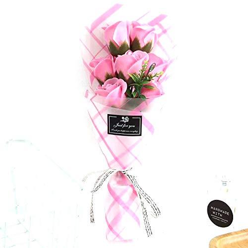 ソープフラワー 造花 ピンクローズフラワー 母の日 バレンタインデー その他のホリデーのギフトに ピンク B07KSYLPC8