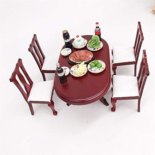 Maikouhai 1 Mini Table and 4 Mini Chair - 1:12 Dollhouse Miniature Furniture Red Wooden Color Dining Table Chair Set Doll Room Kitchen Home Decor - Perfect for Doll House Decoration