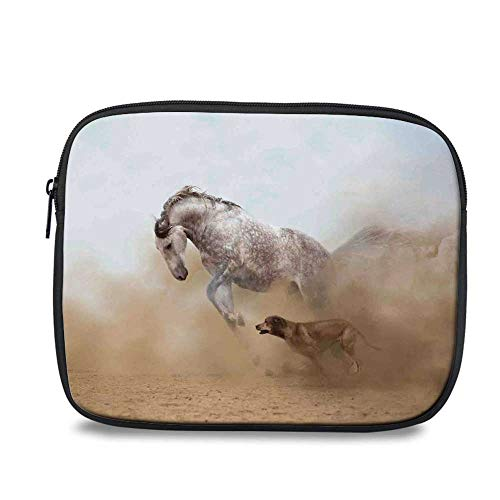 """Horses Durable iPad Bag,Lusitanian Horse Playing with Dog in Sand Storm Wild Fast Companion Friendship for iPad,10.6"""" L x 1.1"""" W x 8.8"""" H"""