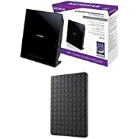 NETGEAR AC1600 WiFi DOCSIS 3.0 Cable Modem Router & Seagate Expansion 1TB Portable External Hard Drive