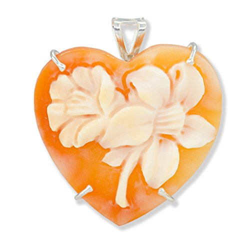 Hearth Floral Cameo Pendant/Brooch - Floral Cornelian Shell Cameo Pendant 25mm