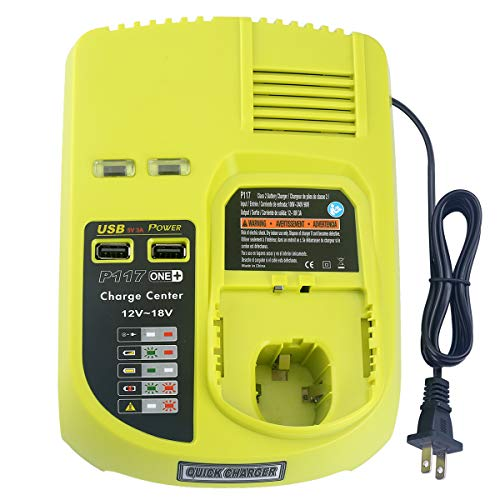 P117 Dual Chemistry IntelliPort Charger Li-ion & Ni-cad Ni-Mh Battery Charger 12V 18V MAX For Ryobi ONE Plus+ 2 USB Ports