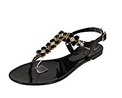 Qupid Women's Getty-07B Diamond Flower Décor Flat Sandal, black pvc, 9 M US
