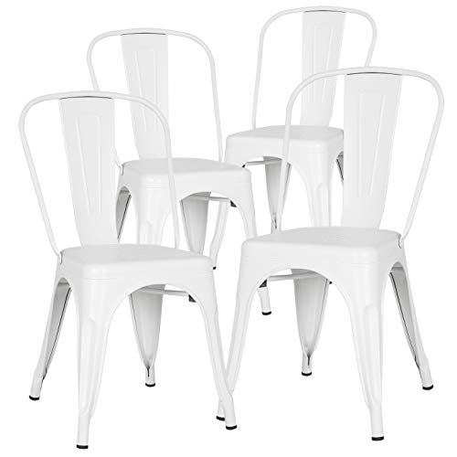 Poly and Bark Trattoria Kitchen and Dining Metal Side Chair in White (Set of 4) (Metal White Outdoor Table Dining)