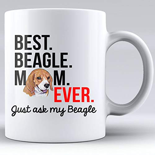 Ceramic White Mugs, Dog Mom, Best Beagle Mom, Beagle, I Love My Dog, Coffee Mug, Gag Gifts, Paw Prints, Gift for Dog Mom, Love, Gift for Mom