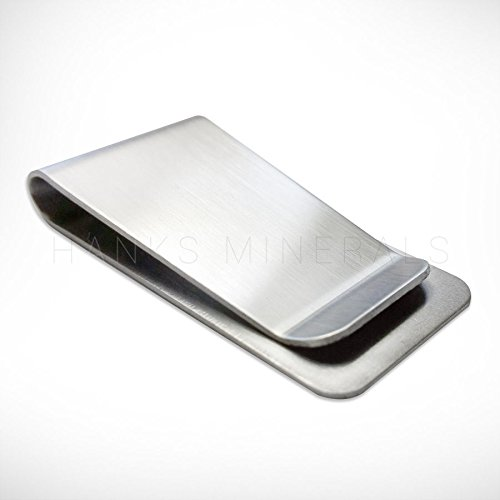2x Stainless Steel Brushed Metal Silver Money Cash Note Thin Holder Clip